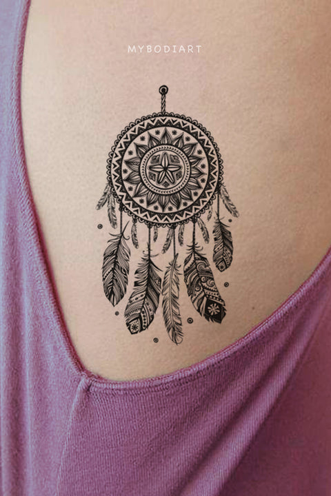 Black Henna Boho Tribal Dreamcatcher Rib Temporary Tattoo Ideas for Women -  Ideas de tatuaje de costilla para mujeres - www.MyBodiArt.com