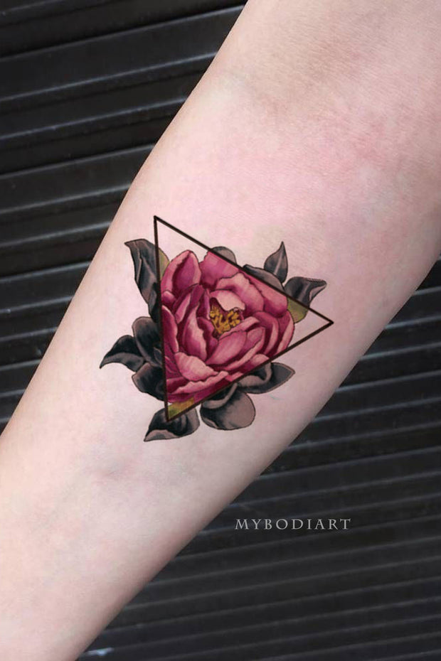 Vintage Rose Forearm Tattoo Ideas For Women Watercolor Floral Flower Triangle Linework -  ideas de tatuaje rosa - www.MyBodiArt.com