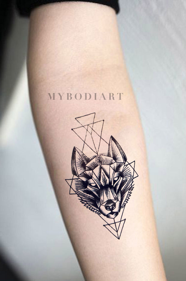 Small Tribal Wolf Forearm Tattoo Ideas for Women - Black Geometric Feminine Native American Traditional Spirit Animal Arm Tat - www.MyBodiArt.com #tattoos
