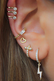 Cute Multiple Ear Piercing Jewelry Ideas for Women - Lightning Bolt Crystal Huggie Hoop Earring for Earlobe, Cartilage, Helix in Gold - www.MyBodiArt.com