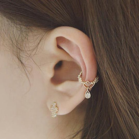 Cute Earrings - Ear Piercing Ideas - Conch Hoop Ring - Bijou Crystal Drop Ear Cuff Earrings at MyBodiArt.com