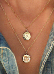 Cute Coin Medallion Pendant Layered Statement Necklace Gold Boho Choker Necklace - www.MyBodiArt.com #necklace
