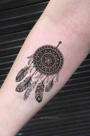 Boho Tribal Black Henna Dreamcatcher Forearm Tattoo Ideas for Women -  Ideas de tatuaje de antebrazo para mujer - www.MyBodiArt.com