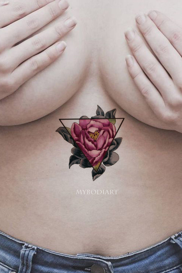 Vintage Rose Sternum Tattoo Ideas For Women Watercolor Floral Flower Triangle Linework -  ideas de tatuaje rosa - www.MyBodiArt.com