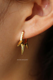 Arisa Edgy Crystal Spike Huggie Hoop Earrings in Gold or Silver