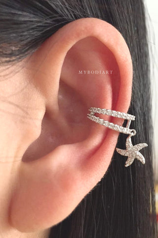 Conch Ring - Auricle Hoop - Non Piercing - Fake Piercing - Ear Cuff Earrings at MyBodiArt.com