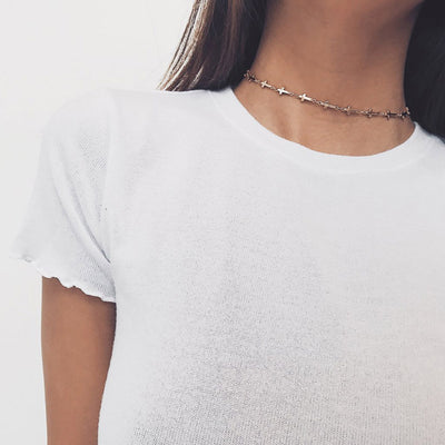 Cute Cross Chain Choker Necklace for Teens Simple Trendy Modern Dainty Minimalist Charm Pendant Necklaces in  Silver for Women - collar de gargantilla de cadena cruzada linda y delicada - www.MyBodiArt.com #necklace