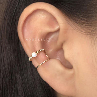 Simple Minimalist Conch Ear Piercing Jewelry Ideas Opal Wired Gold Ear Cuff Earring -  lindo arete de oreja de ópalo - www.MyBodiArt.com