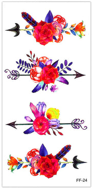 Cute Watercolor Arrow Rose Floral Temporary Tattoos - www.MyBodiArt.com #tattoos