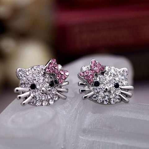 Crystal Hello Kitty Stud Earring Fashion Jewelry for Women - www.MyBodiArt.com