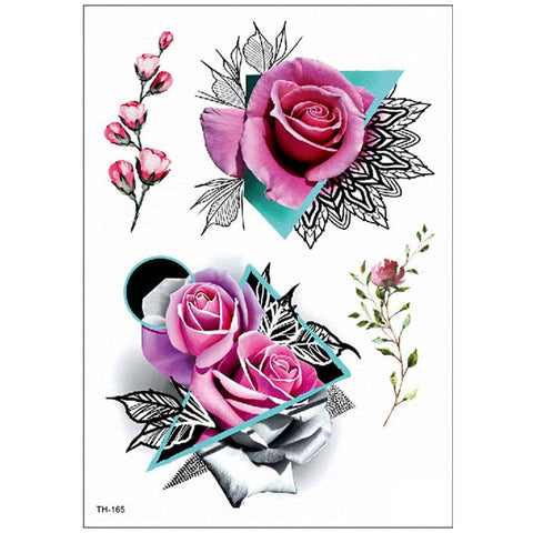 Kaylee Watercolor Pink Rose Geometric Mandala Temporary Tattoo