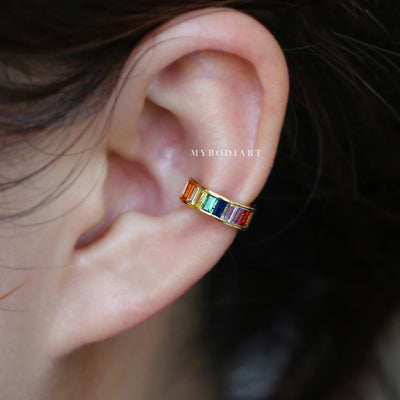 Cute Ear Cuff Earring Rainbow Gemstone Crystal Fake  Earcuff Conch Cartilage Piercing Fashion Jewelry in Gold - lindo pendiente de arcoiris en oro - www.MyBodiArt.com