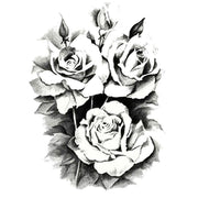 Vintage Black Rose Floral Flower Temporary Tattoo Ideas for Women - www.MyBodiArt.com