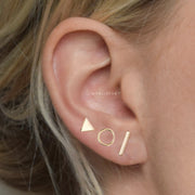 Minimalist Cute Ear Piercing Ideas for Women - Wired Metal Triangle Circle T-Bar Earring Studs Set Fashion Jewelry - lindas y minimalistas ideas para perforar orejas - www.MyBodiArt.com
