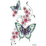 Cute Pretty Floral Flower Watercolor Butterfly Temporary Tattoo Ideas for Women - www.MyBodiArt.com