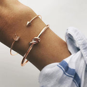 Cute Layered Stackable Bangle Bracelets Minimalist Minimal Jewelry Arrow Infinity Knot Summer for Girlfriends Rose Gold - www.MyBodiArt.com