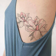 Beautiful Watercolor Pink Floral Flower Peony Outline Rib Tattoo Ideas for Women - www.MyBodiArt.com #tattoos