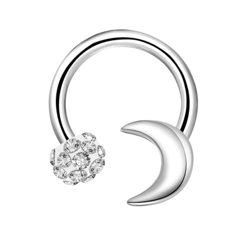 Unique Cool Moon Crystal Daith Ear Piercing Jewelry Ideas Horseshoe Barbell Earring- www.MyBodiArt.com #daith