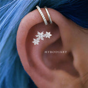 Cute Triple Crystal Flower Cartilage Helix Ear Piercing Jewelry Ideas for Women -  ideas de piercing de oreja para mujeres - www.MyBodiArt.com