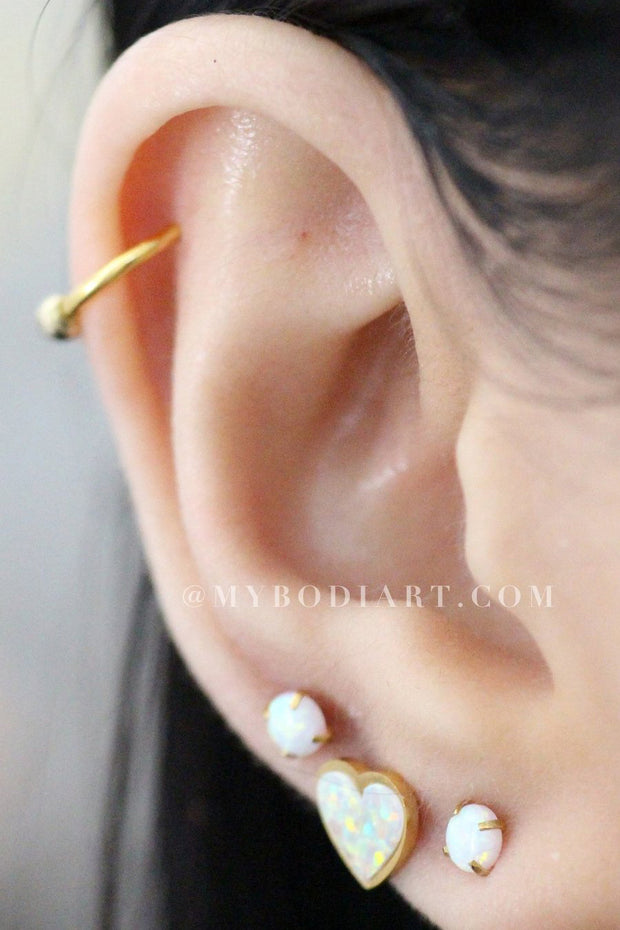 Cute Ear Piercing Opal Gold Earring Studs 16G Cartilage Helix Earlobe - www.MyBodiArt.com