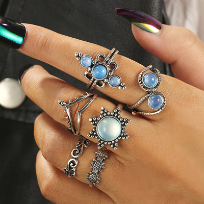 Moonstone Opal Boho Fashion Rings Set Cute Vintage Antiqued Silver Stackable Midi Rings Bohemian - www.MyBodiArt.com #rings