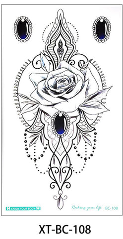 Manya Tribal Boho Rose Jewelry Chandelier Temporary Tattoo