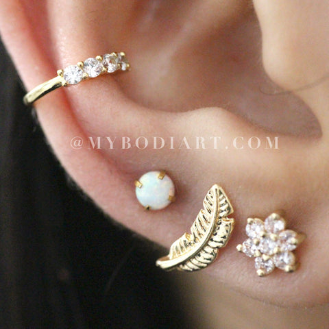 Creative Ear Piercing Combinations Ideas for Teen Girls - Pretty Opal Gold Earring Studs 16G - bonitas ideas de perforación de orejas de oro para chicas adolescentes - www.MyBodiArt.com #earrings