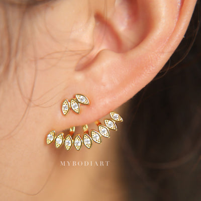 Artistic Unique Ear Piercing Ideas for Women - Crystal Spikes Ear Jacket Earring for Women in Gold - www.MyBodiArt.com #earrings