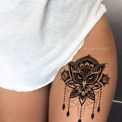 Tribal Boho Owl Thigh Tattoo Ideas Mandala Chandelier Temporary Tat Art Design -  búho muslo tatuaje ideas - www.MyBodiArt.com