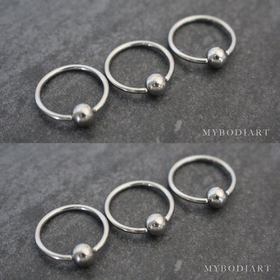 Cute Bull Captive Bead Ring Jewelry for Ear Piercing Earring Ideas Septum Ring in Silver 14G - www.MyBodiArt.com