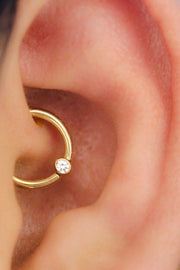 Cute Simple Minimalist Daith Rook Ear Piercing Gold Ring Hoop Earring 16G - www.MyBodiArt.com #earrings #piercings