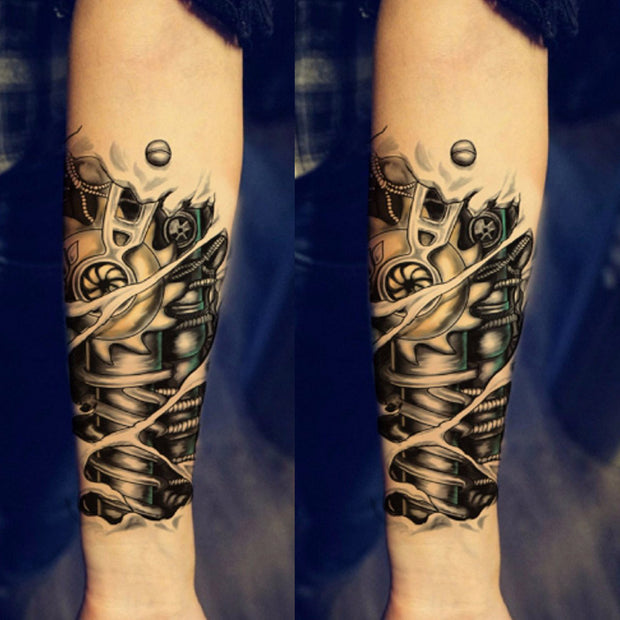 Cool Unique Robot Bionic Forearm Temporary Tattoo Ideas for Women or Men - www.MyBodiArt.com