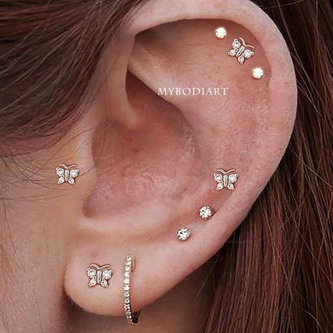 Cute Multiple Butterfly Cartilage Helix Tragus Conch Ear Lobe Ear Piercing Jewelry Ideas for Women -  lindos piercings en las orejas - www.MyBodiArt.com