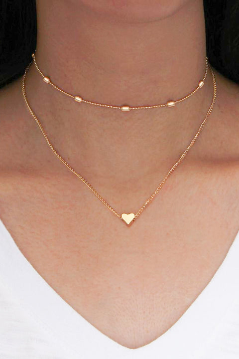 Cute Simple Modest Heart Choker Necklace in Gold Double Layered Statement Jewelry  at MyBodiArt.com