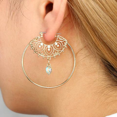 Unique Bohemian Dangle Hoop Earrings Boho Chic in Gold for Teens for Women - pendientes de aro de oro - www.MyBodiArt.com