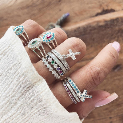 Boho Fashion Rings Set Cute Unique Stacking Crystal Cross Midi Ring Jewelry in Silver - conjunto de anillos de moda boho - www.MyBodiArt.com #ring
