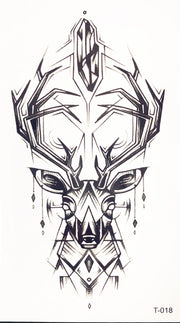 Deer Forearm Tattoo Ideas for Women - Black Geometric Antlers Feminine Spirit Animal Arm Tat - www.MyBodiArt.com #tattoos