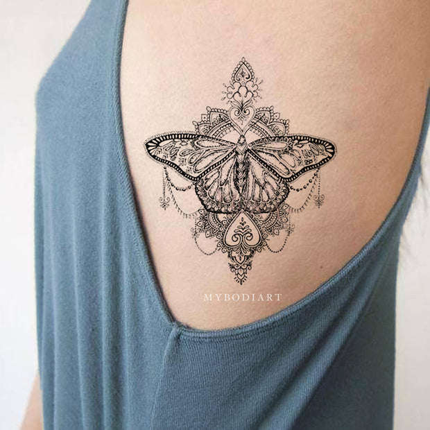 Tribal Boho Black Lace Mandala Butterfly Rib Side Tattoo Ideas for Women -  Ideas de tatuaje de costilla de mariposa para mujeres - www.MyBodiArt.com #tattoos