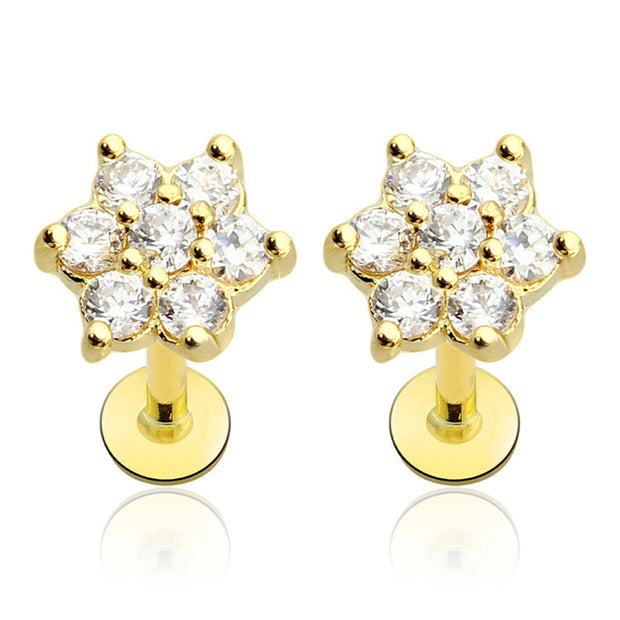 Crystal Flower Cartilage Helix Tragus Conch Ear Piercing Earring Labret Stud in Silver, Gold, Rose Gold  - www.MyBodiArt.com #earrings