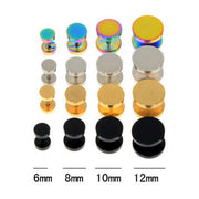Fake Metal Ear Gauge Plug Tunnel Earrings in Silver, Gold, Black, Rainbow, Sizes: 5mm, 8mm, 10mm, 12mm - www.MyBodiArt.com #earrings