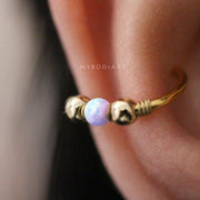 Cute Conch Ear Piercing Ideas for Women Purple Opal Ear Cuff Gold Earring 16G -  lindas ideas para perforar orejas - www.MyBodiArt.com