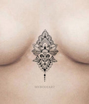 Small Boho Lotus Sternum Tattoo Ideas for Women - Black Mandala Cleavage Chest Tat -ideas negras del tatuaje del esternón del loto para las mujeres - www.MyBodiArt.com #tattoos