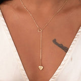 Modern Double Heart Lariat Drop Necklace in Gold Fashion Statement Style Instagram Tumblr Jewelry - collar de corazón minimalista - www.MyBodiArt.com