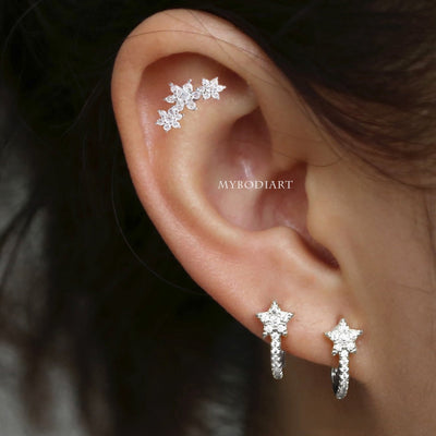 Unique Multiple Ear Piercing Jewelry Ideas Star Ring Hoop Earring Earlobe - ideas de joyería piercing en la oreja - www.MyBodiArt.com #piercings #earrings
