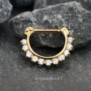 Crystal Septum Piercing Jewelry for Septum Ring, Earring for Daith Clicker at MyBodiArt.com - Gold & Clear Crystals