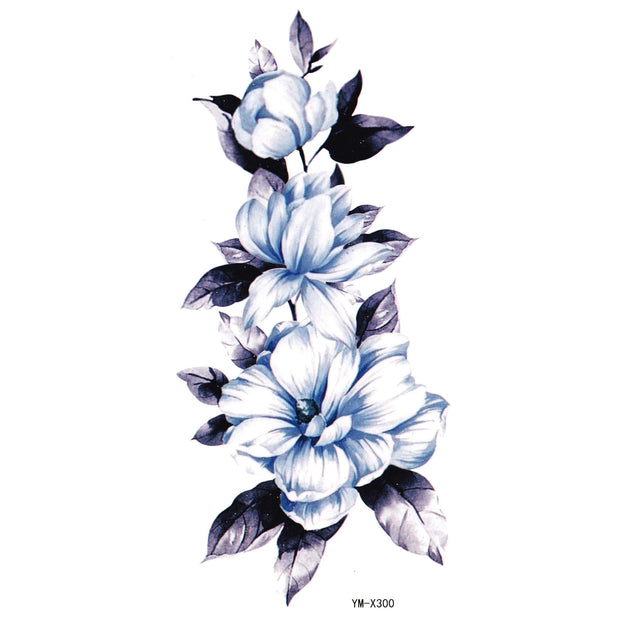 Pretty Vintage Blue Floral Flower Temporary Tattoo Ideas Sheets for Women -  hojas de tatuaje temporal de flor azul - www.MyBodiArt.com