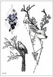Bambi Black Geometric Deer Nature Temporary Tattoo  - www.MyBodiArt.com #tattoos