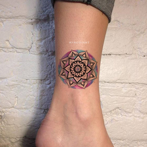 Cute Watercolor Black Mandala Ankle Tattoo Ideas for Women -  ideas de tatuajes de tobillo mandala para mujeres - www.MyBodiArt.com #tattoos