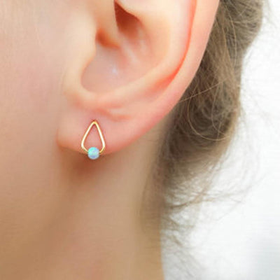Minimal Simple Opal Earrings Studs - Wired Triangle Stamped Metal Ear Piercings -  pendientes triángulo ópalo - www.MyBodiArt.com
