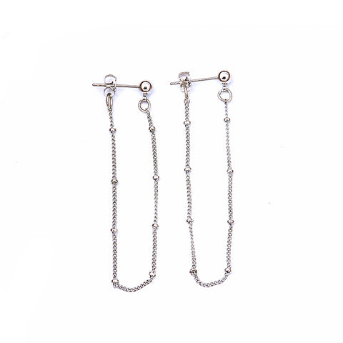 Lila Minimalist Drop Chain Ball Ear Jacket Earrings Silver - www.MyBodiArt.com